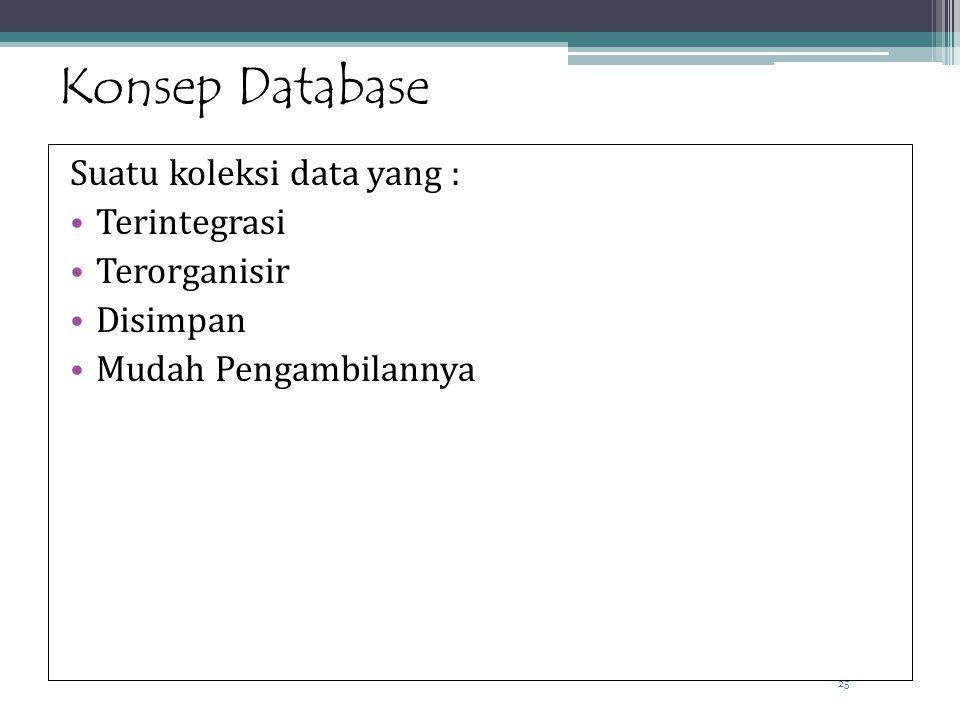 25 Konsep Database Suatu koleksi data yang : Terintegrasi Terorganisir Disimpan Mudah Pengambilannya