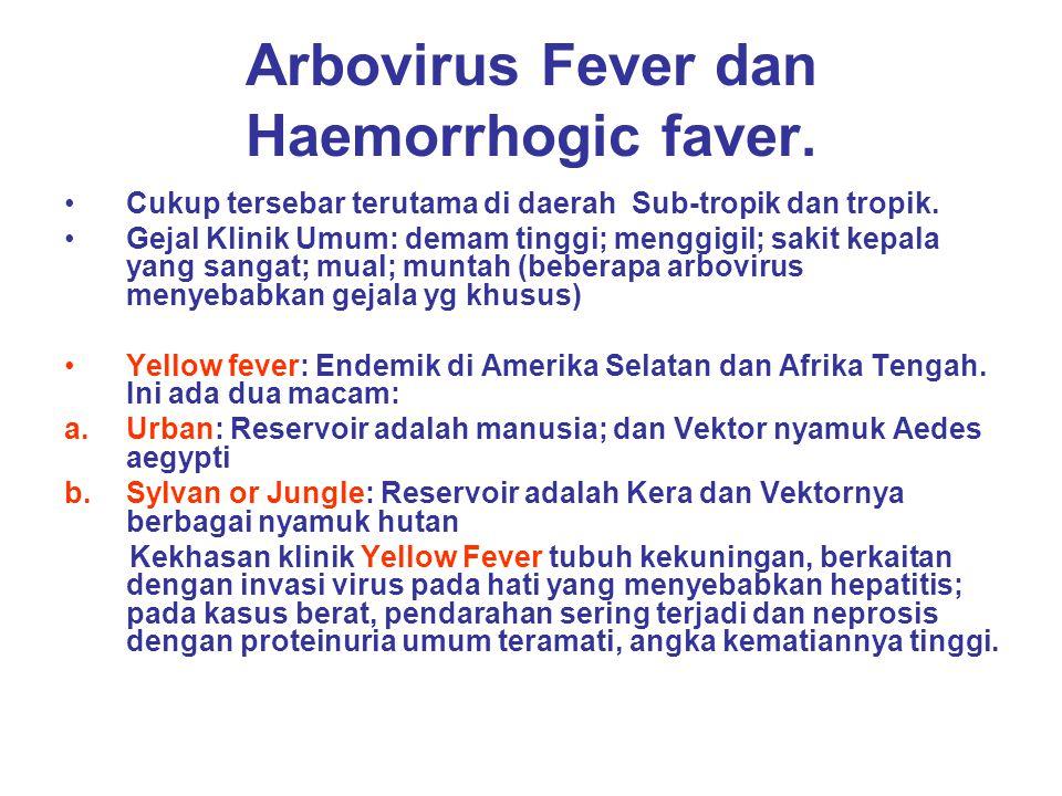 Arbovirus Fever dan Haemorrhogic faver. Cukup tersebar terutama di daerah Sub-tropik dan tropik. Gejal Klinik Umum: demam tinggi; menggigil; sakit kep