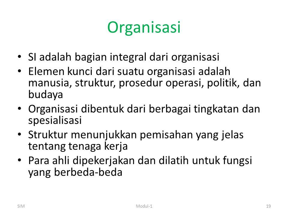 Organisasi SI adalah bagian integral dari organisasi Elemen kunci dari suatu organisasi adalah manusia, struktur, prosedur operasi, politik, dan budaya Organisasi dibentuk dari berbagai tingkatan dan spesialisasi Struktur menunjukkan pemisahan yang jelas tentang tenaga kerja Para ahli dipekerjakan dan dilatih untuk fungsi yang berbeda-beda SIM19Modul-1