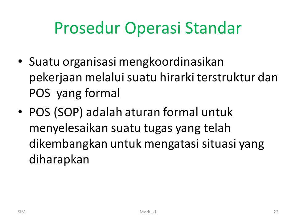 Prosedur Operasi Standar Suatu organisasi mengkoordinasikan pekerjaan melalui suatu hirarki terstruktur dan POS yang formal POS (SOP) adalah aturan formal untuk menyelesaikan suatu tugas yang telah dikembangkan untuk mengatasi situasi yang diharapkan SIM22Modul-1