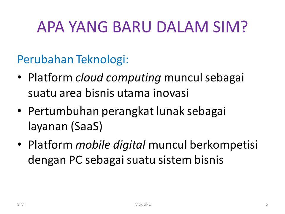 APA YANG BARU DALAM SIM? Perubahan Teknologi: Platform cloud computing muncul sebagai suatu area bisnis utama inovasi Pertumbuhan perangkat lunak seba
