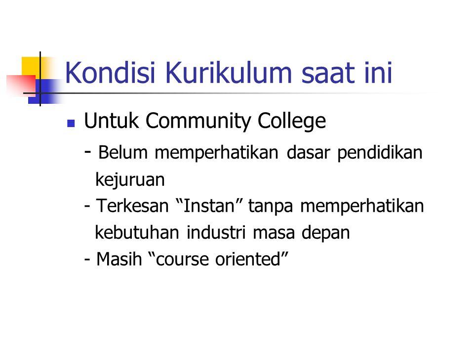 Kondisi Kurikulum saat ini Untuk Community College - Belum memperhatikan dasar pendidikan kejuruan - Terkesan Instan tanpa memperhatikan kebutuhan industri masa depan - Masih course oriented