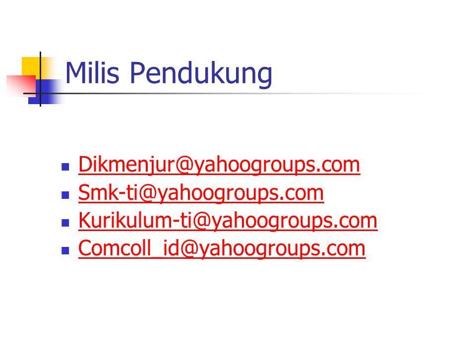 Milis Pendukung Dikmenjur@yahoogroups.com Smk-ti@yahoogroups.com Kurikulum-ti@yahoogroups.com Comcoll_id@yahoogroups.com