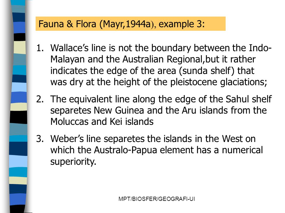 MPT/BIOSFER/GEOGRAFI-UI Fauna & Flora (Mayr,1944a ), example 3: 1.Wallace's line is not the boundary between the Indo- Malayan and the Australian Regi