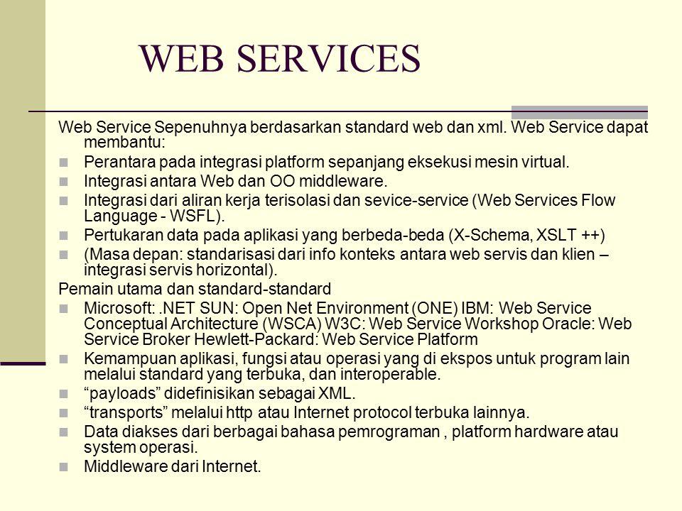 WEB SERVICES Web Service Sepenuhnya berdasarkan standard web dan xml.