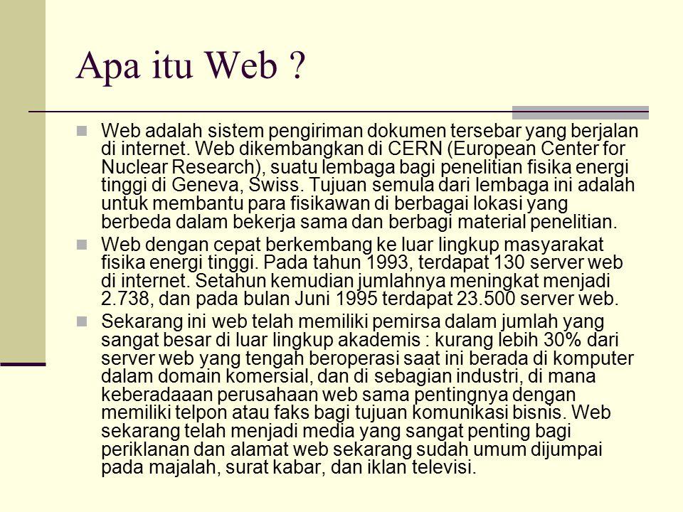 Apa itu Web ? Web adalah sistem pengiriman dokumen tersebar yang berjalan di internet. Web dikembangkan di CERN (European Center for Nuclear Research)