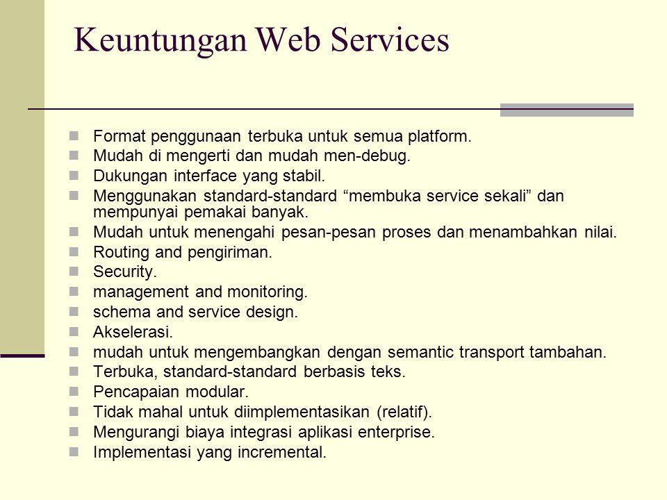 Keuntungan Web Services Format penggunaan terbuka untuk semua platform. Mudah di mengerti dan mudah men-debug. Dukungan interface yang stabil. Menggun