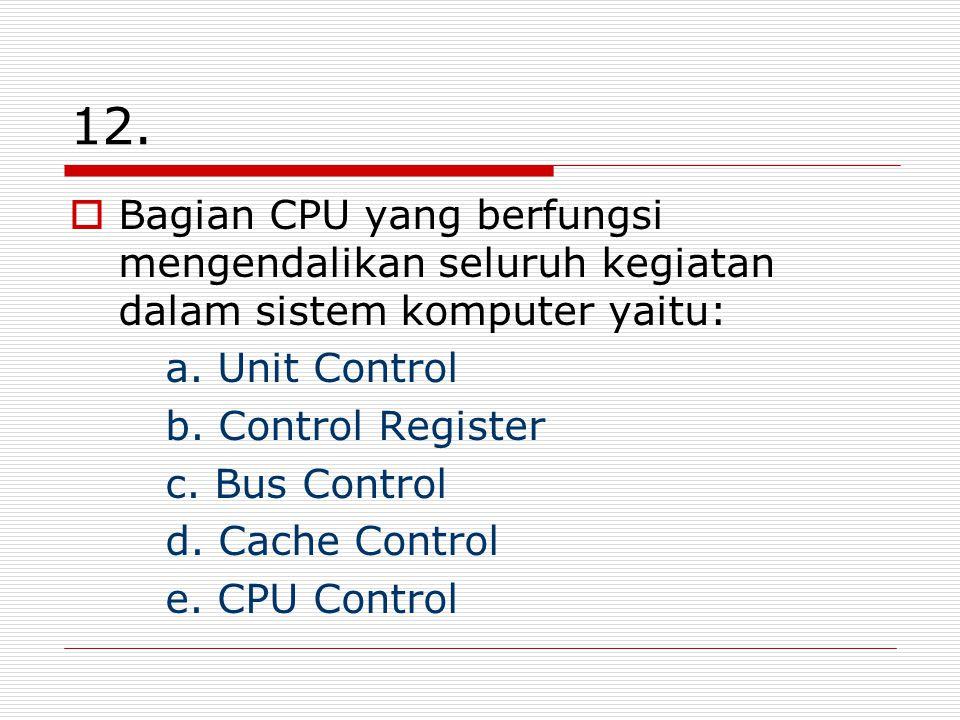 12. Bagian CPU yang berfungsi mengendalikan seluruh kegiatan dalam sistem komputer yaitu: a.
