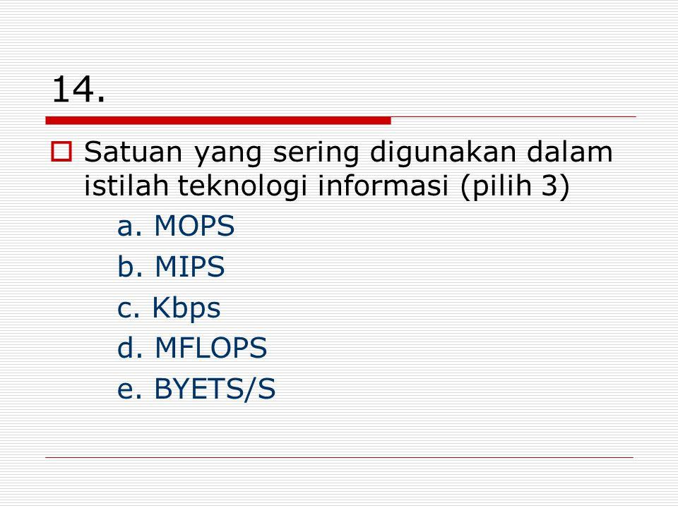 14. Satuan yang sering digunakan dalam istilah teknologi informasi (pilih 3) a.