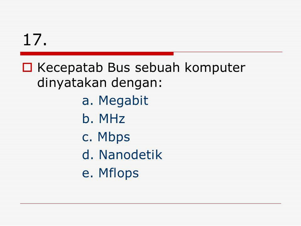 17. Kecepatab Bus sebuah komputer dinyatakan dengan: a.