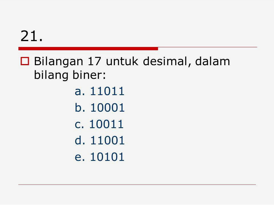 21.  Bilangan 17 untuk desimal, dalam bilang biner: a. 11011 b. 10001 c. 10011 d. 11001 e. 10101