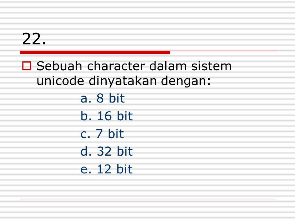 22. Sebuah character dalam sistem unicode dinyatakan dengan: a.