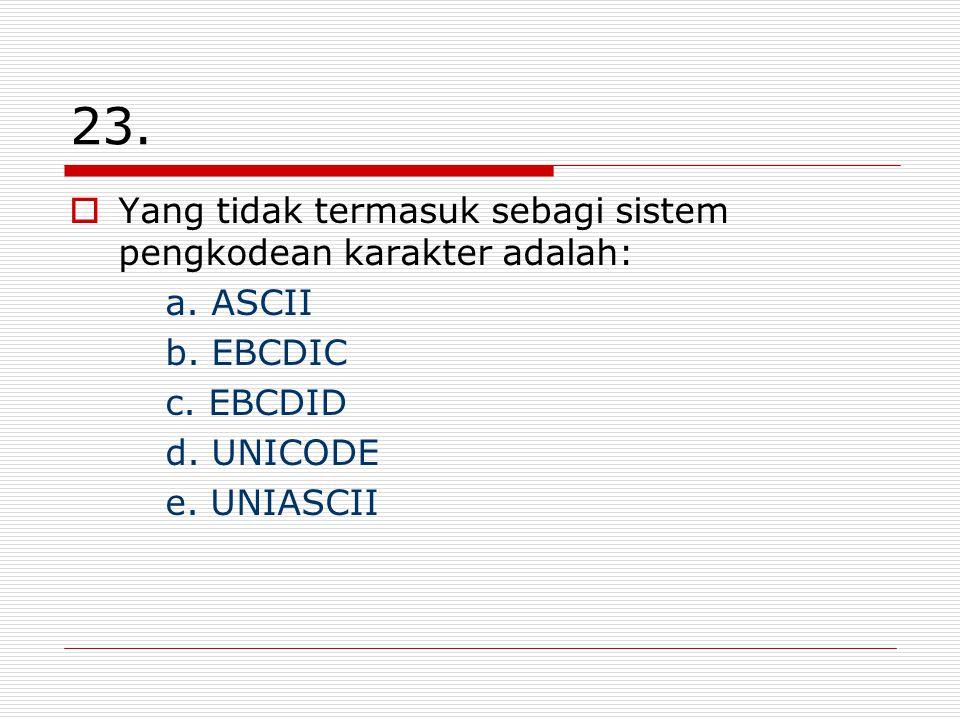 23. Yang tidak termasuk sebagi sistem pengkodean karakter adalah: a.