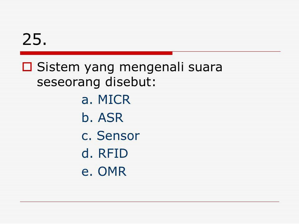 25.  Sistem yang mengenali suara seseorang disebut: a. MICR b. ASR c. Sensor d. RFID e. OMR