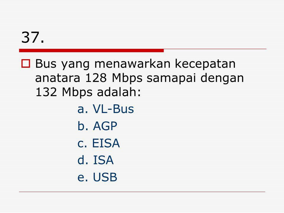 37. Bus yang menawarkan kecepatan anatara 128 Mbps samapai dengan 132 Mbps adalah: a.