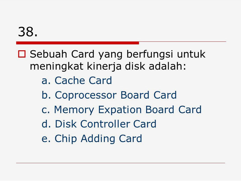 38. Sebuah Card yang berfungsi untuk meningkat kinerja disk adalah: a.