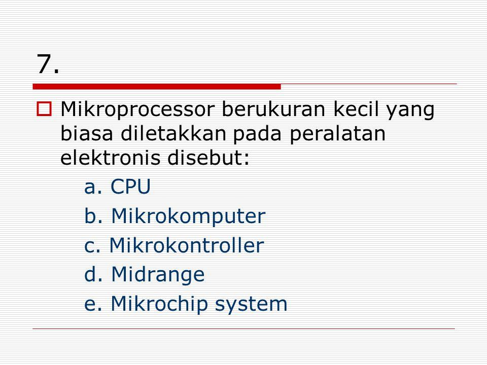7. Mikroprocessor berukuran kecil yang biasa diletakkan pada peralatan elektronis disebut: a.