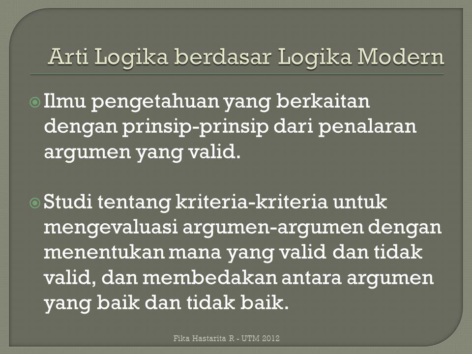  Ilmu pengetahuan yang berkaitan dengan prinsip-prinsip dari penalaran argumen yang valid.  Studi tentang kriteria-kriteria untuk mengevaluasi argum
