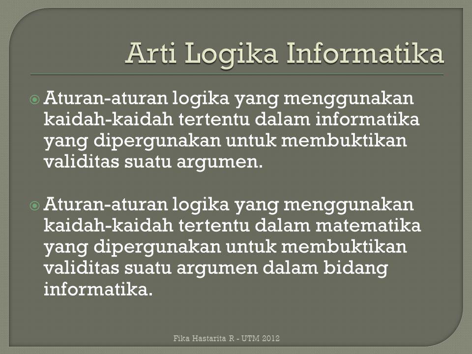  Aturan-aturan logika yang menggunakan kaidah-kaidah tertentu dalam informatika yang dipergunakan untuk membuktikan validitas suatu argumen.  Aturan