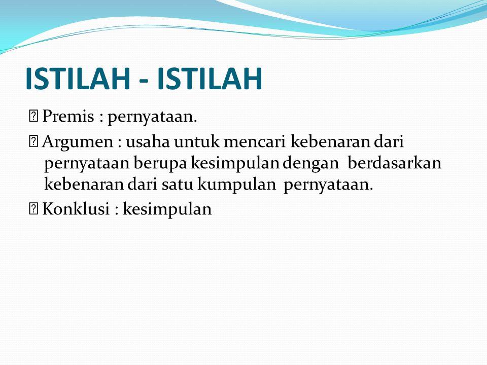 ISTILAH - ISTILAH Premis : pernyataan.