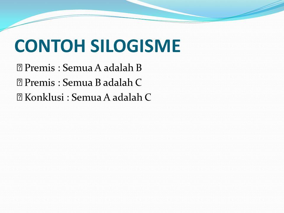 CONTOH SILOGISME Premis : Semua A adalah B Premis : Semua B adalah C Konklusi : Semua A adalah C