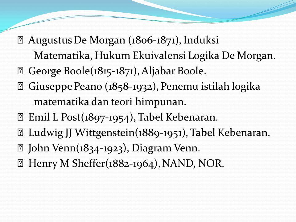 Augustus De Morgan (1806-1871), Induksi Matematika, Hukum Ekuivalensi Logika De Morgan. George Boole(1815-1871), Aljabar Boole. Giuseppe Peano (1858-1