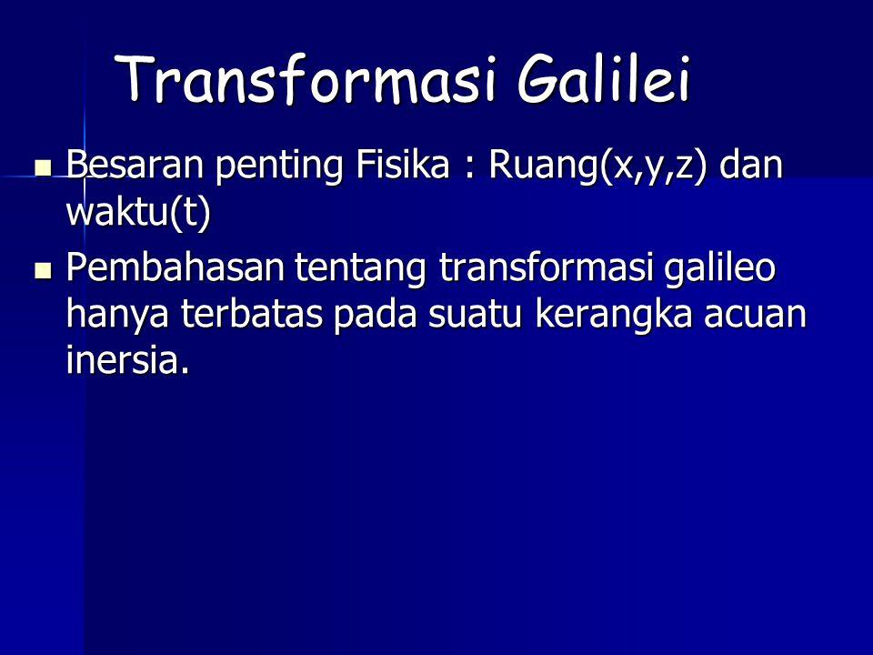 Transformasi Galilei Besaran penting Fisika : Ruang(x,y,z) dan waktu(t) Besaran penting Fisika : Ruang(x,y,z) dan waktu(t) Pembahasan tentang transformasi galileo hanya terbatas pada suatu kerangka acuan inersia.