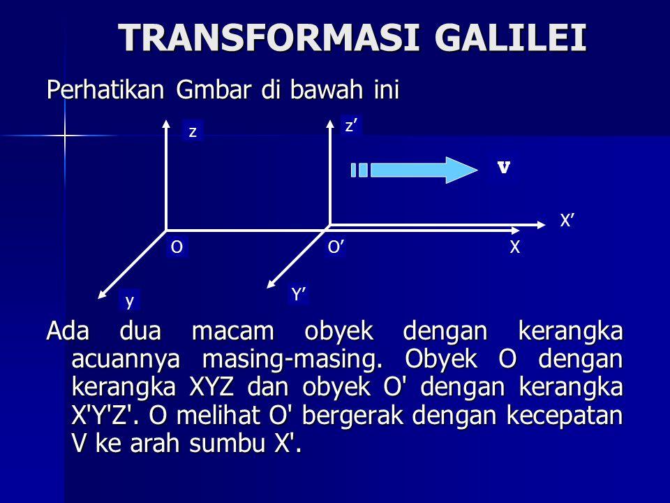 TRANSFORMASI GALILEI Perhatikan Gmbar di bawah ini Ada dua macam obyek dengan kerangka acuannya masing-masing. Obyek O dengan kerangka XYZ dan obyek O