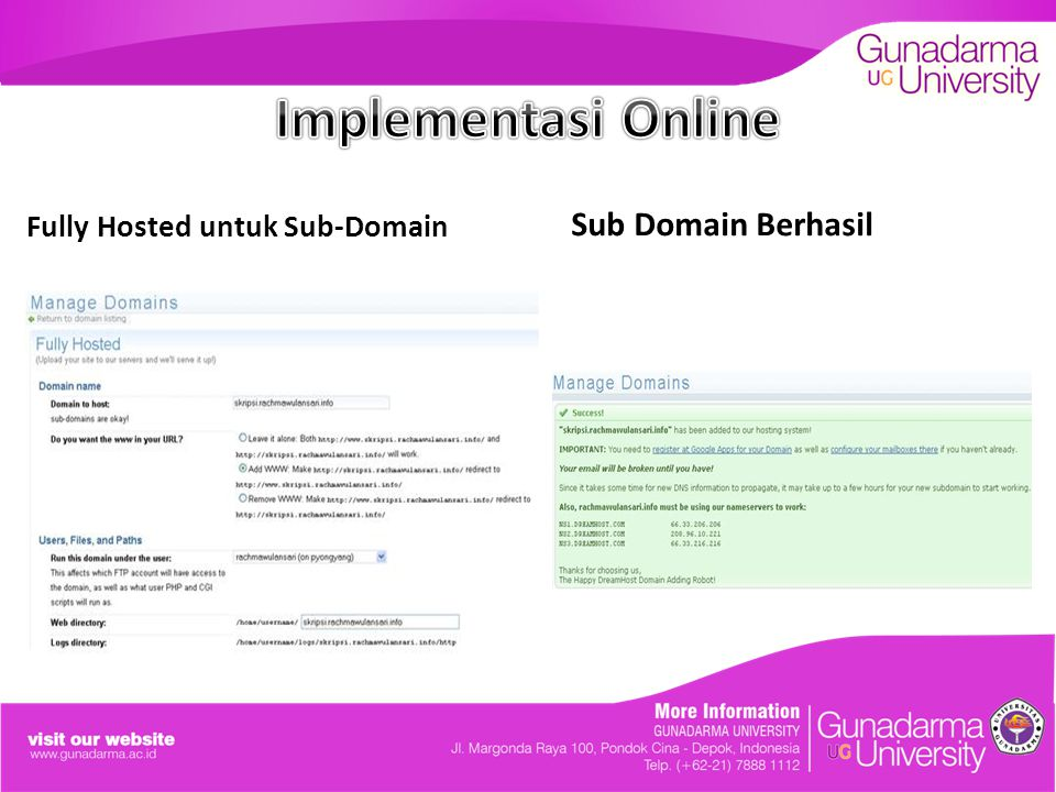 Fully Hosted untuk Sub-Domain Sub Domain Berhasil