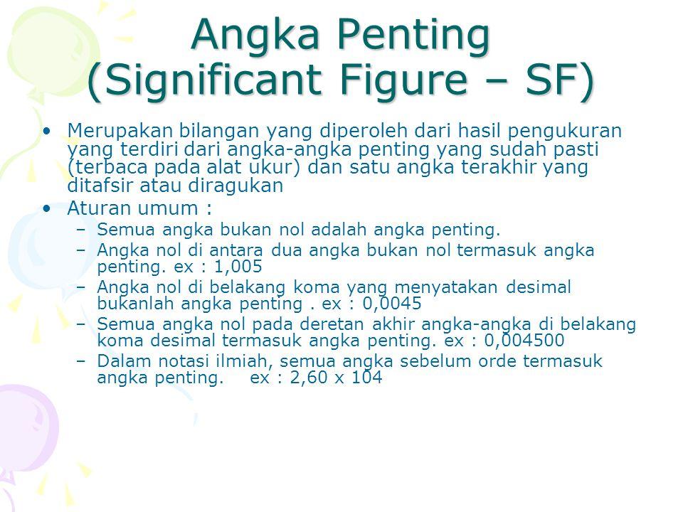 Angka Penting (Significant Figure – SF) Merupakan bilangan yang diperoleh dari hasil pengukuran yang terdiri dari angka-angka penting yang sudah pasti