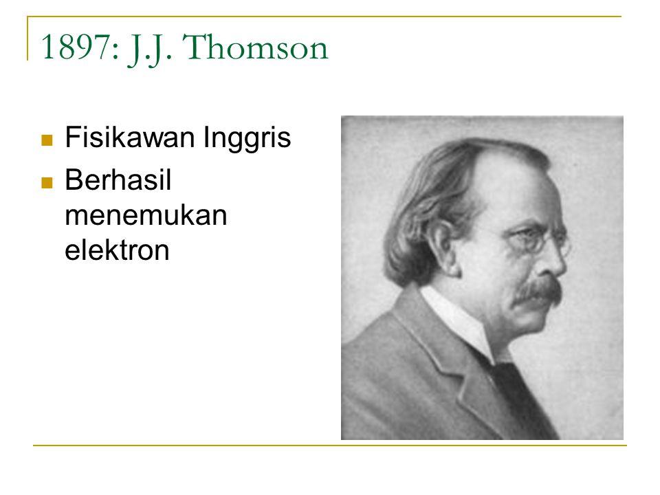 1897: J.J. Thomson Fisikawan Inggris Berhasil menemukan elektron