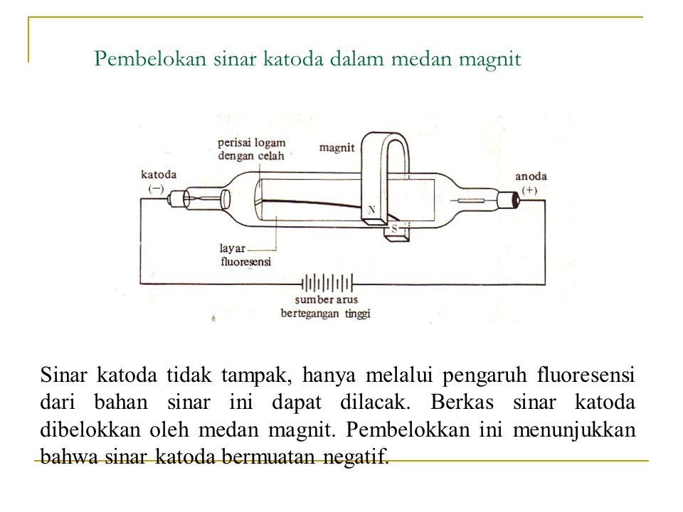 Pembelokan sinar katoda dalam medan magnit Sinar katoda tidak tampak, hanya melalui pengaruh fluoresensi dari bahan sinar ini dapat dilacak.