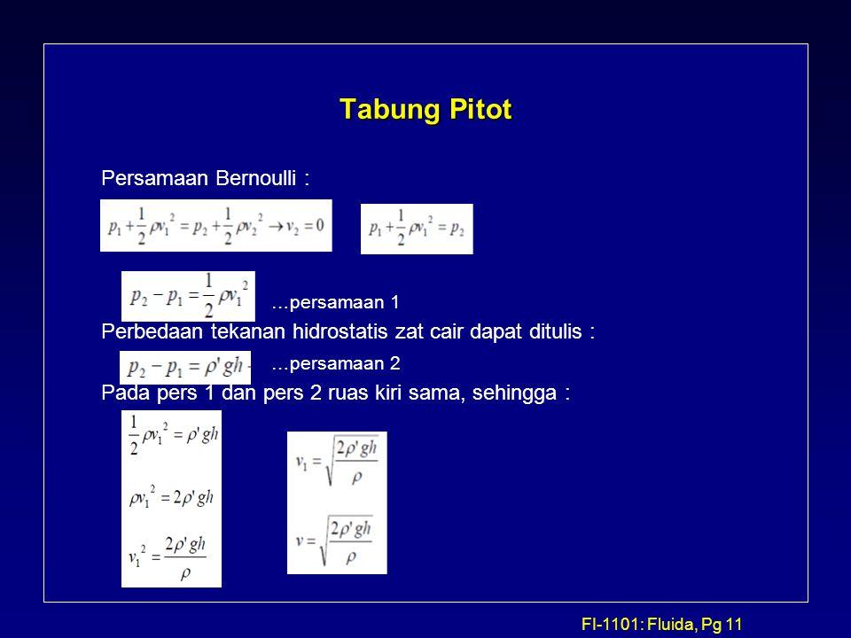 FI-1101: Fluida, Pg 11 Tabung Pitot Persamaan Bernoulli : …persamaan 1 Perbedaan tekanan hidrostatis zat cair dapat ditulis : …persamaan 2 Pada pers 1