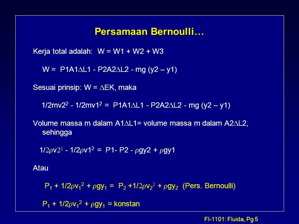 FI-1101: Fluida, Pg 5 Persamaan Bernoulli… Kerja total adalah: W = W1 + W2 + W3 W = P1A1  L1 - P2A2  L2 - mg (y2 – y1) Sesuai prinsip: W =  EK, mak