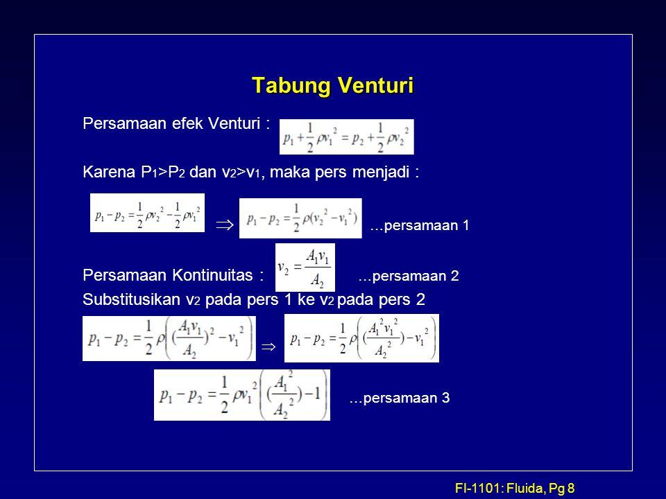 FI-1101: Fluida, Pg 8 Tabung Venturi Persamaan efek Venturi : Karena P 1 >P 2 dan v 2 >v 1, maka pers menjadi :  …persamaan 1 Persamaan Kontinuitas :