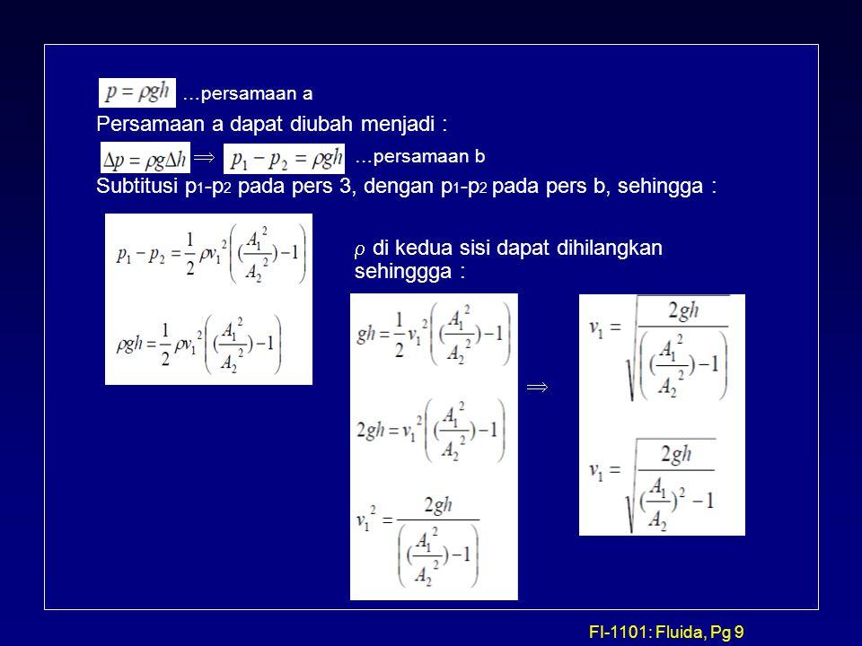 FI-1101: Fluida, Pg 9 …persamaan a Persamaan a dapat diubah menjadi :  …persamaan b Subtitusi p 1 -p 2 pada pers 3, dengan p 1 -p 2 pada pers b, sehi