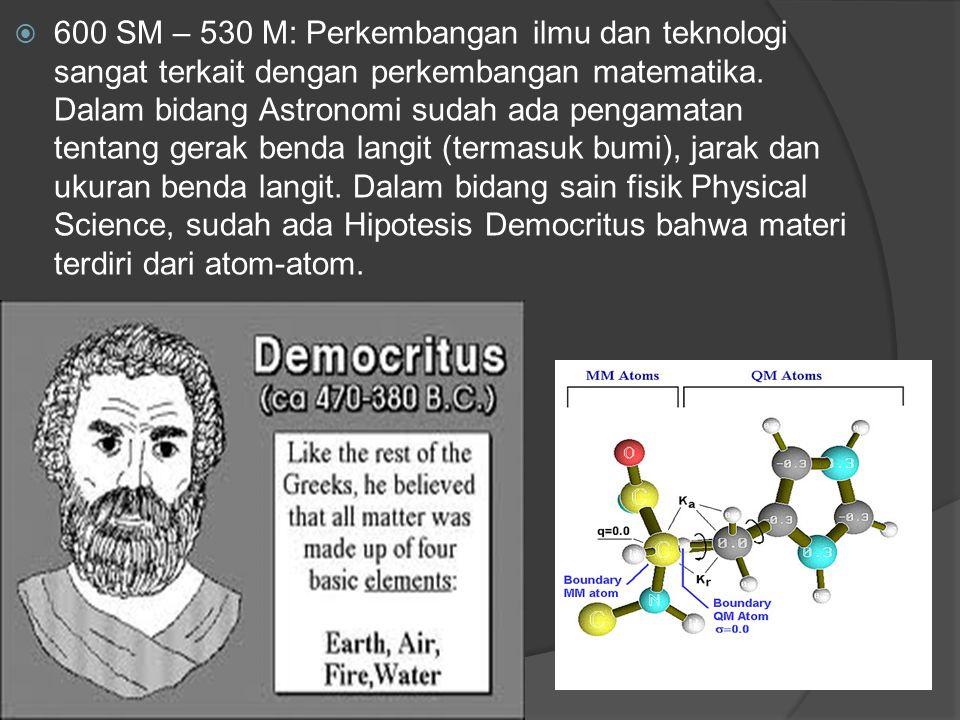 600 SM – 530 M: Perkembangan ilmu dan teknologi sangat terkait dengan perkembangan matematika. Dalam bidang Astronomi sudah ada pengamatan tentang g