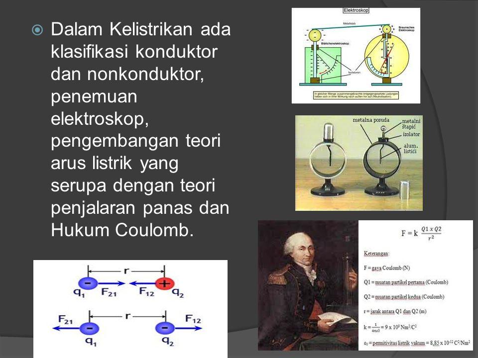  Dalam Kelistrikan ada klasifikasi konduktor dan nonkonduktor, penemuan elektroskop, pengembangan teori arus listrik yang serupa dengan teori penjala