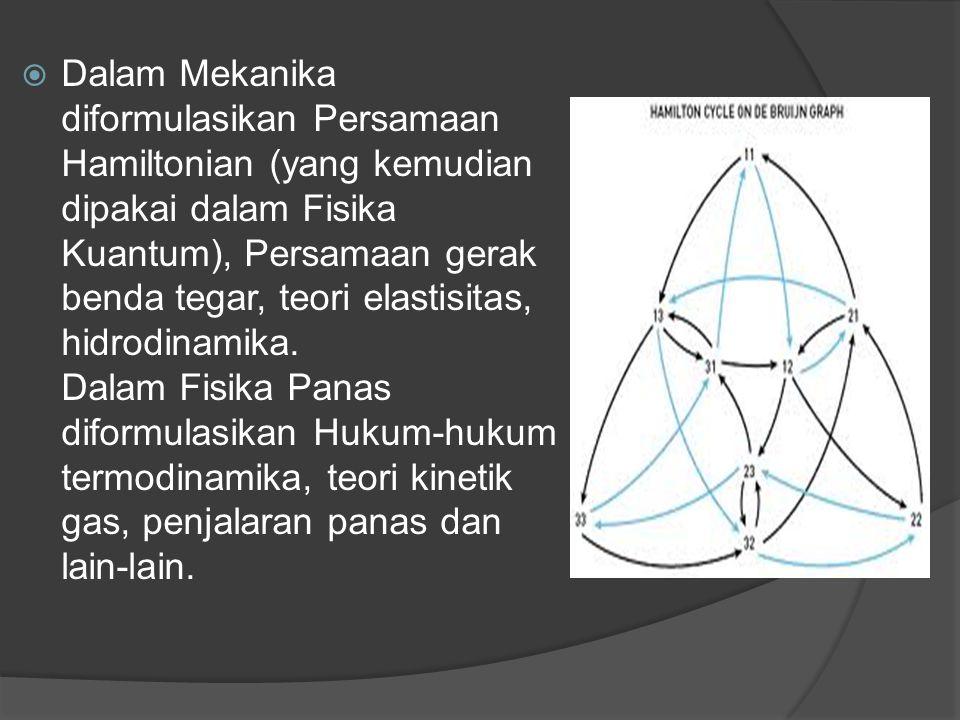  Dalam Mekanika diformulasikan Persamaan Hamiltonian (yang kemudian dipakai dalam Fisika Kuantum), Persamaan gerak benda tegar, teori elastisitas, hi