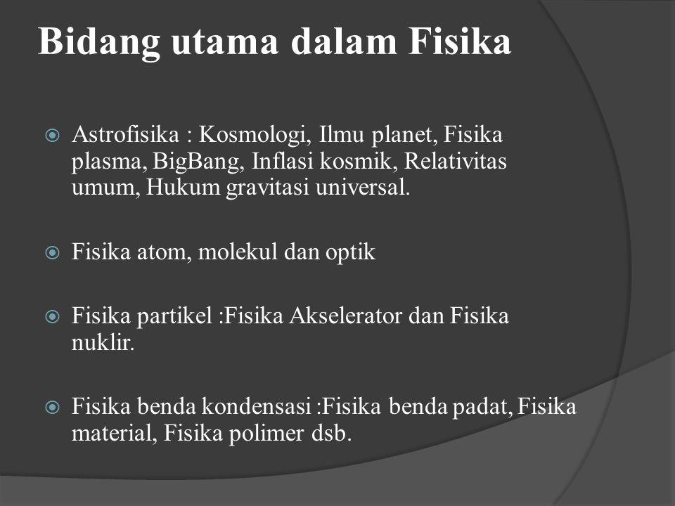 Bidang utama dalam Fisika  Astrofisika : Kosmologi, Ilmu planet, Fisika plasma, BigBang, Inflasi kosmik, Relativitas umum, Hukum gravitasi universal.