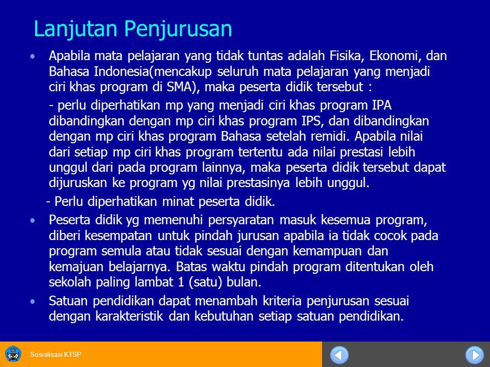 Sosialisasi KTSP Lanjutan Penjurusan Apabila mata pelajaran yang tidak tuntas adalah Fisika, Ekonomi, dan Bahasa Indonesia(mencakup seluruh mata pelaj