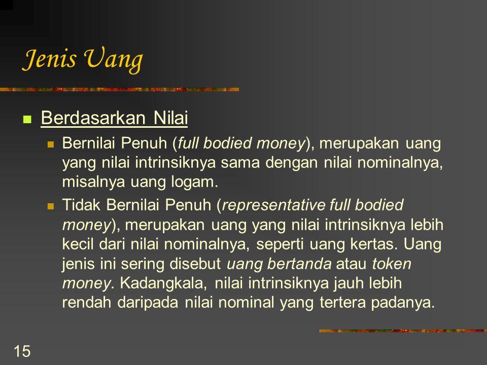 15 Jenis Uang Berdasarkan Nilai Bernilai Penuh (full bodied money), merupakan uang yang nilai intrinsiknya sama dengan nilai nominalnya, misalnya uang