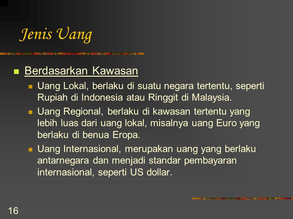 16 Jenis Uang Berdasarkan Kawasan Uang Lokal, berlaku di suatu negara tertentu, seperti Rupiah di Indonesia atau Ringgit di Malaysia. Uang Regional, b