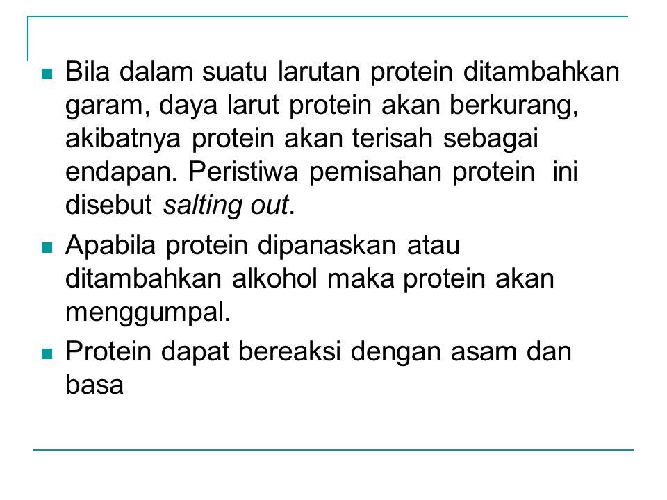 Bila dalam suatu larutan protein ditambahkan garam, daya larut protein akan berkurang, akibatnya protein akan terisah sebagai endapan. Peristiwa pemis