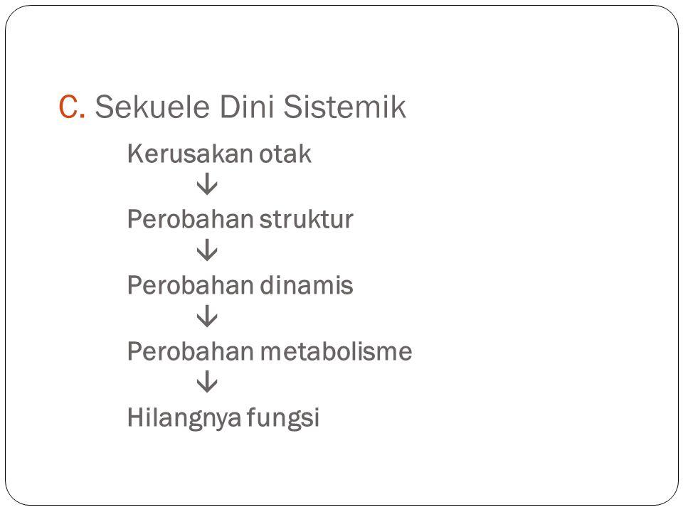 C. Sekuele Dini Sistemik Kerusakan otak  Perobahan struktur  Perobahan dinamis  Perobahan metabolisme  Hilangnya fungsi