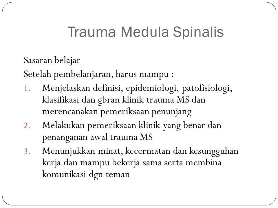 ISI dan URAIAN Anatomi dan fisiologi MS Klasifikasi trauma medula spinalis Patologi dan patofisiologi trauma Gbrn klinik trauma dari berbagai klasifikasi Langkah-langkah pemeriksaan dan tindakan untuk penyelamatan fungsi fisik dan jiwa penderita Merencanakan rujukan