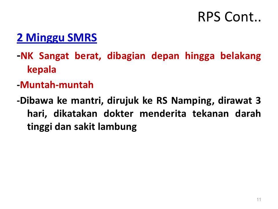 RPS Cont.. 2 Minggu SMRS - NK Sangat berat, dibagian depan hingga belakang kepala -Muntah-muntah -Dibawa ke mantri, dirujuk ke RS Namping, dirawat 3 h