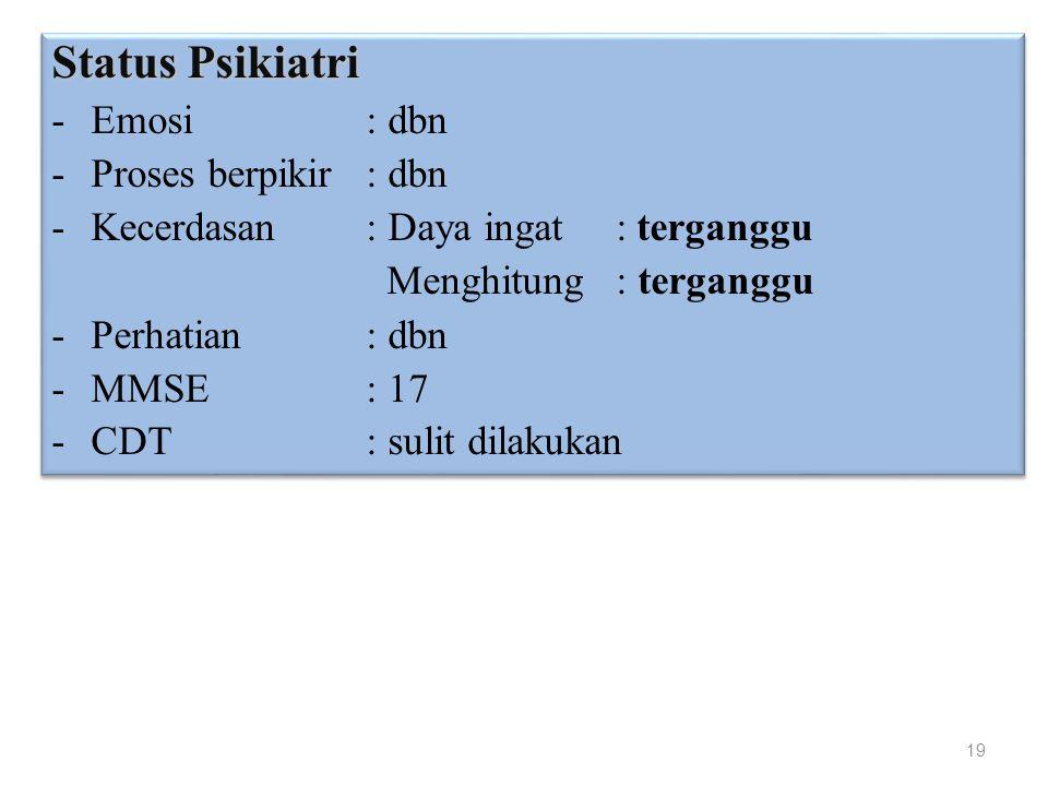 19 Status Psikiatri -Emosi: dbn -Proses berpikir: dbn -Kecerdasan: Daya ingat : terganggu Menghitung : terganggu -Perhatian: dbn -MMSE : 17 -CDT : sul