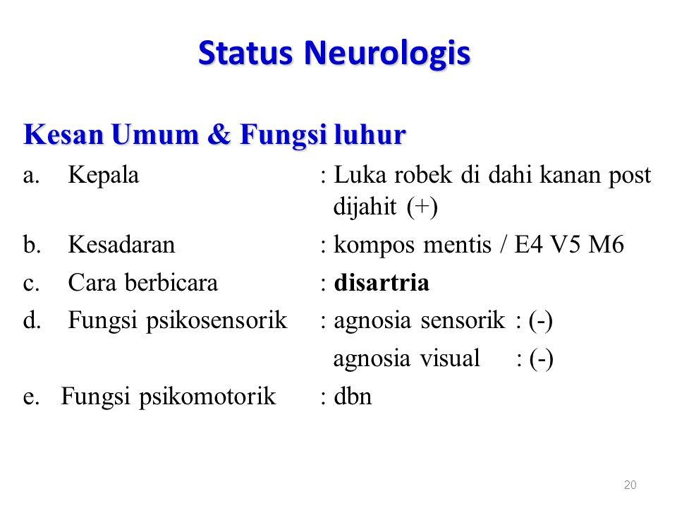 Status Neurologis Kesan Umum & Fungsi luhur a.Kepala : Luka robek di dahi kanan post dijahit (+) b.Kesadaran : kompos mentis / E4 V5 M6 c.Cara berbica