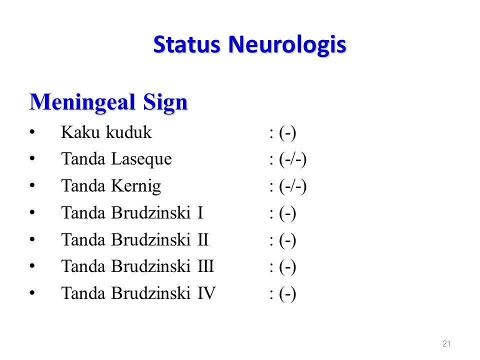 Status Neurologis Meningeal Sign Kaku kuduk: (-) Tanda Laseque: (-/-) Tanda Kernig: (-/-) Tanda Brudzinski I: (-) Tanda Brudzinski II: (-) Tanda Brudz